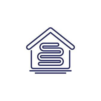 Icona della linea di riscaldamento a pavimento con una casa