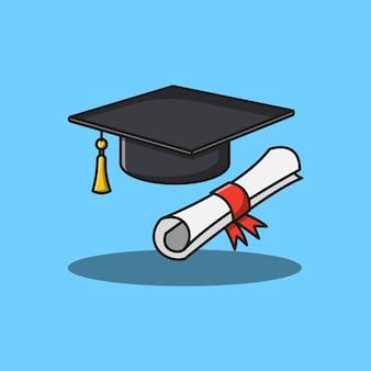 Cappello universitario e disegno dell'illustrazione della pagella