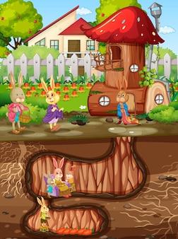 Tana del coniglio sotterranea con superficie del terreno della scena del giardino