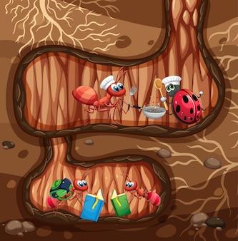 Scena sotterranea con formiche che leggono e cucinano
