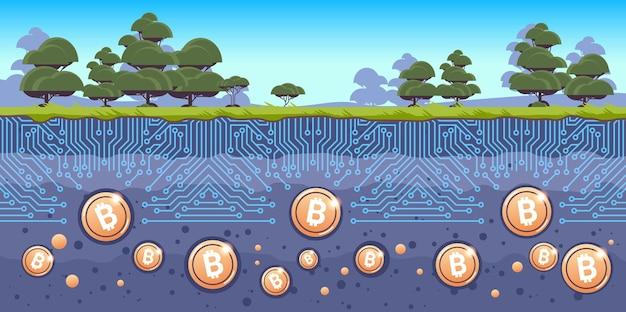 Suolo sotterraneo con monete bitcoin dorate criptovaluta concetto blockchain paesaggio archeologico