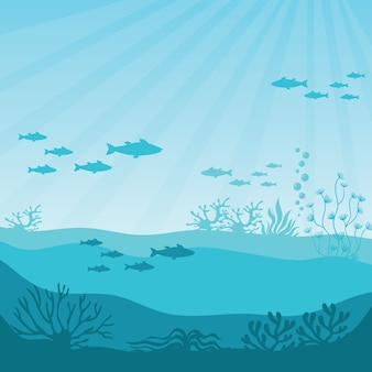 Barriera corallina sottomarina. panorama sottomarino
