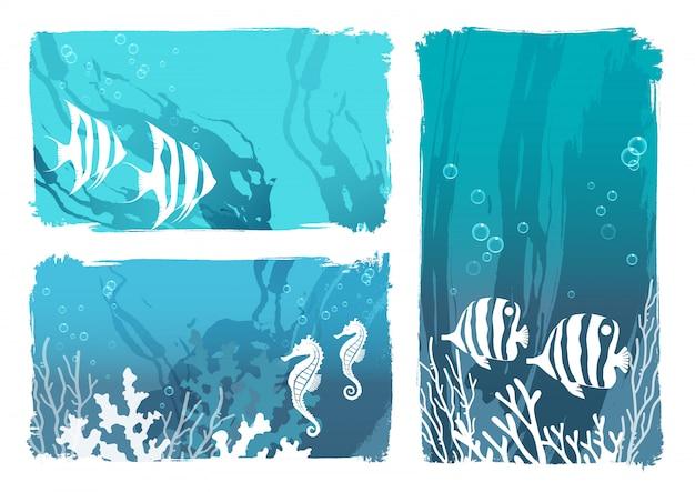 Illustrazione di creature sottomarine con pesci tropicali e cavallucci marini