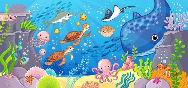 Mondo sottomarino simpatico cartone animato animali sott'acqua illustrazione vettoriale su un tema marino
