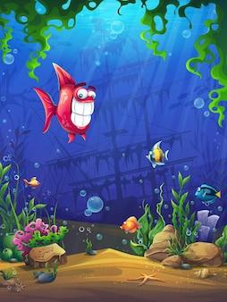 Mondo sottomarino con illustrazione di pesce