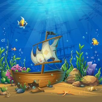 Mondo sottomarino con nave. marine life landscape - l'oceano e il mondo sottomarino con diversi abitanti.