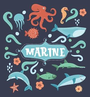 Animali subacquei e icone di creature marine oceano e pesci marini