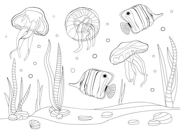 Pagina da colorare subacquea con pesci, meduse e alghe