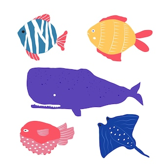 Creature sottomarine diversi tipi di pesci, meduse, pesci pagliaccio, set con animali marini per tessuti, tessuti, carta da parati, decorazioni per la scuola materna, stampe, sfondo infantile. vettore