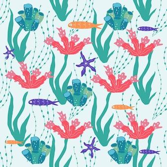 Creature sottomarine pesci, meduse, polpi, pesci pagliaccio, piante marine e coralli, con animali marini per la stampa, tessuti, carta da parati, decorazioni per la scuola materna, stampe, sfondo infantile. vettore
