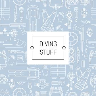 Stile lineare di immersione subacquea con posto per testo. insegna subacquea del modello di sport subacqueo