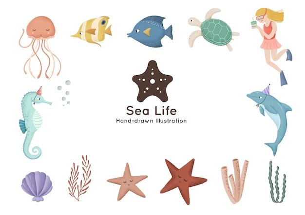 Illustrazione disegnata a mano dell'acquerello degli elementi subacquei