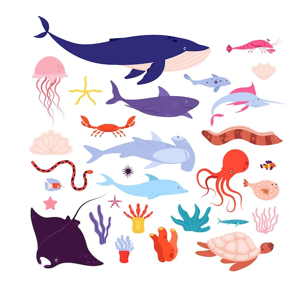 Pesci e animali sott'acqua. simpatico animale marino, delfini e meduse, polpi e stelle marine. personaggi isolati di vita marina del fumetto. illustrazione di delfini, stelle marine e polpi, tartarughe e rampa