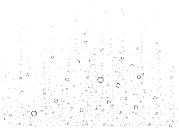Bolle di aria, acqua o ossigeno frizzante sott'acqua su sfondo bianco. bevanda effervescente. scintille frizzanti in mare, acquario. champagne. soda pop. struttura di vettore sottomarino.