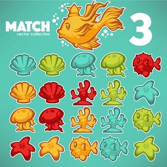 Gioco subacqueo, match 3, elementi del fumetto di vettore