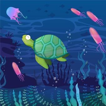 Illustrazione subacquea con caricature di animali acquatici