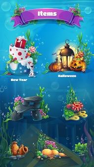 Set di oggetti subacquei