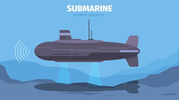 Vita sottomarina con sottomarino. paesaggio del fondo dell'oceano che esplora il concetto di vettore della fauna marina all'aperto. illustrazione sottomarino nell'oceano, nave nautica