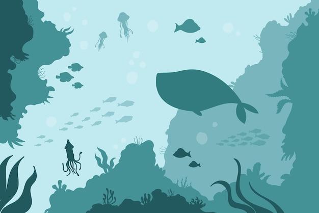 Fondo sottomarino con calamari meduse balene oceaniche acque salate con barriera corallina