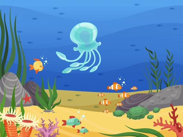 Subacquea. fondo di vita di mare con il paesaggio del fumetto delle alghe delle piante acquatiche e dei pesci
