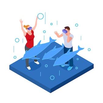 Realtà virtuale subacquea, uomo e donna felici in occhiali vr con i delfini