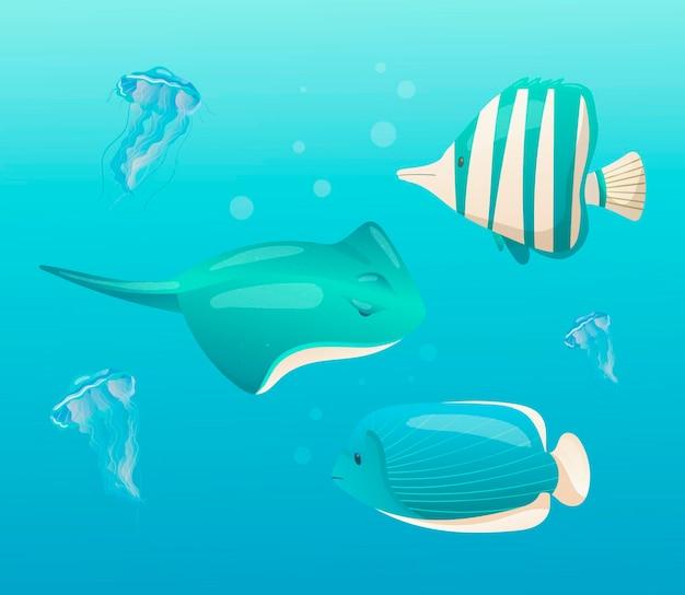 Mondo sottomarino cartone animato meduse velenose a strisce e pastinaca nuotare in acqua blu mare o oceano