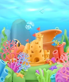 Paesaggio del mondo subacqueo in 3d