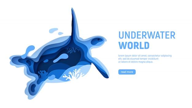 Modello di pagina del mondo subacqueo. concetto di mondo sottomarino di arte di carta con sagoma di tartaruga.