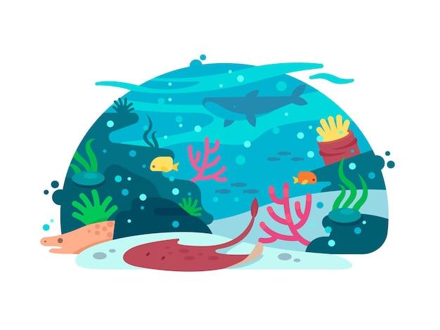 Mondo sottomarino con pesci alghe e coralli. vista sottomarina, illustrazione vettoriale
