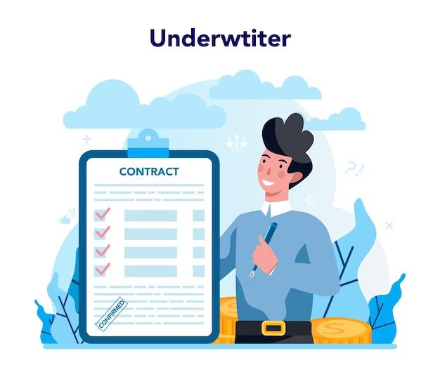 Concetto di sottoscrittore. assicurazione aziendale, pagamento finanziario in caso di danni o perdite finanziarie. idea di sicurezza e protezione della proprietà e del profitto.