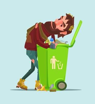 Un senzatetto disoccupato cerca cibo nell'illustrazione del fumetto del bidone della spazzatura