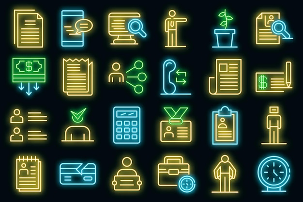 Set di icone disoccupate. delineare l'insieme delle icone vettoriali disoccupate di colore neon su nero
