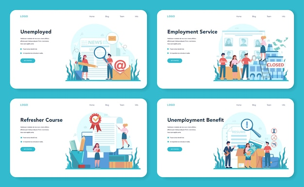 Banner web o set di pagine di destinazione per disoccupati
