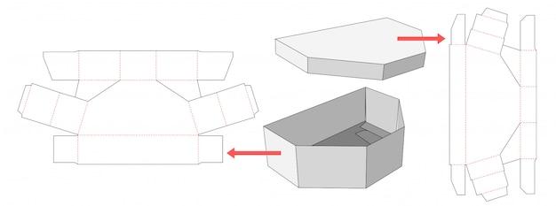 Disuguale scatola modello esagonale e coperchio fustellato modello design Vettore Premium