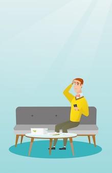 Fatture domestiche di contabilità dell'uomo caucasico infelice.
