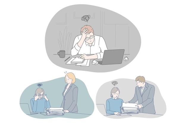 Seduta di impiegati giovani depressi infelici