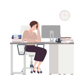 Impiegato femminile infelice che si siede allo scrittorio. donna triste, stanca o esausta in ufficio.