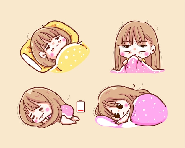 La ragazza infelice cerca di dormire la notte e l'insonnia prima di coricarsi