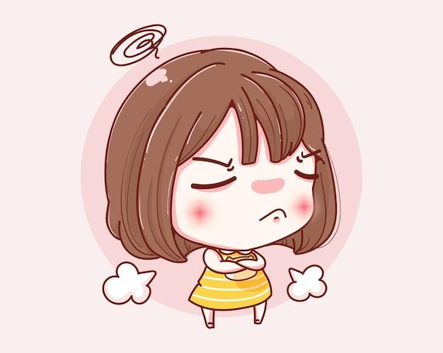Ragazza infelice sconvolta e design del personaggio.