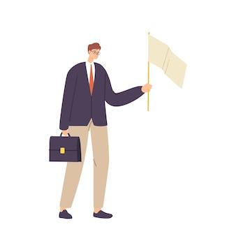 Personaggio maschile infelice che tiene la valigetta e la bandiera bianca ammettono la sconfitta. perdente rinunciare, capitolazione ansiosa dell'uomo d'affari, concetto di resa isolato su cenni storici bianchi. fumetto illustrazione vettoriale