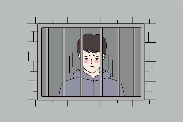 Uomo infelice condannato dietro le sbarre in carcere