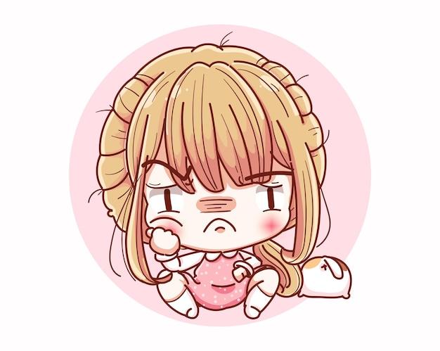 Donna infelice fastidioso e design dei personaggi dei cartoni animati.