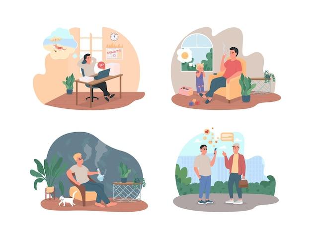 Set di abitudini malsane. procrastinazione sul posto di lavoro. tossicodipendenti personaggi piatti sul cartone animato. patch stampabile stile di vita cattivo