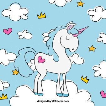 Sfondo unicorno e nuvole disegnate a mano