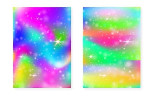 Sfondo di unicorno con sfumatura magica kawaii. ologramma arcobaleno principessa. set di fate olografiche. copertina fantasia alla moda. sfondo di unicorno con scintillii e stelle per invito a una festa ragazza carina.