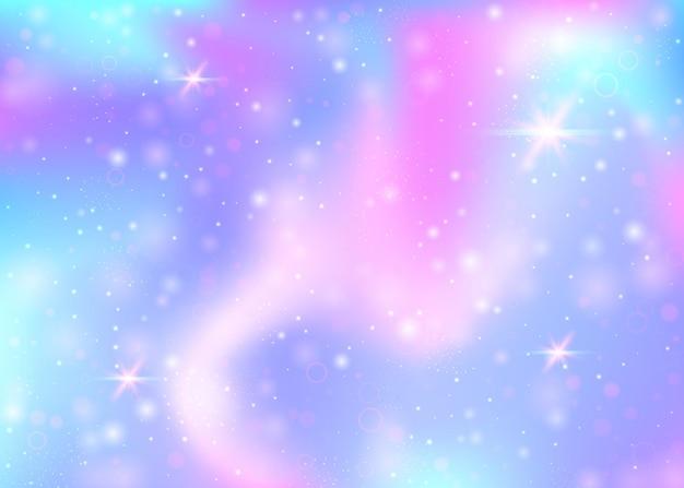 Sfondo di unicorno con maglia arcobaleno. banner dell'universo kawaii nei colori della principessa. sfondo sfumato fantasia con ologramma. sfondo unicorno olografico con scintillii magici, stelle e sfocature.