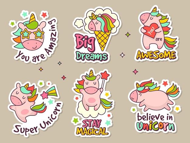 Distintivi di unicorno. set di etichette di moda o adesivi con oggetti retrò di personaggi delle fiabe.