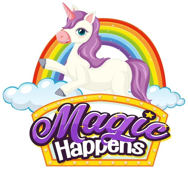 Personaggio dei cartoni animati di unicorno con banner di carattere miracles happen