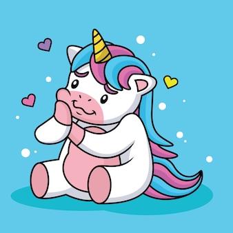 Unicorn cartoon in love con cute pose