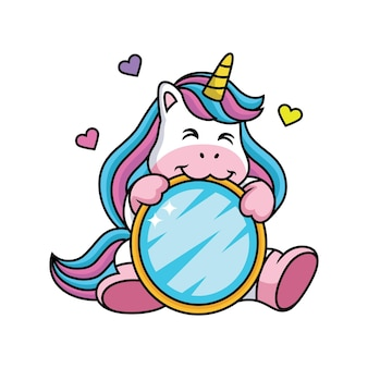 Unicorn cartoon in love con cute pose.